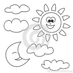 patron sol, luna y nubes. Se puede hacer junto al arco iris de fieltro o de cremalleras