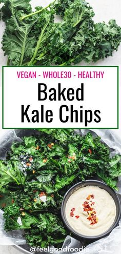 Baked Kale Chips Are A Great Healthy Substitute For Potato Chips With Less Calories, Less Carbs And Less Fat. Pair Them With My Vegan Dipping Sauce Vegan Recipes Chips Kale Chips Super Bowl Game Day Vegan Lunches, Vegan Snacks, Healthy Snacks, Healthy Eats, Protein Snacks, Healthy Breakfasts, High Protein, Eating Healthy, Vegan Food