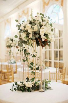 15 Trending Hydrangea And Eucalyptus Wedding Centerpieces - Page 2 of 2 - Oh Best Day Ever elegant hydrangea and eucalyptus tall wedding centerpiece Floral Wedding, Wedding Colors, Wedding Bouquets, Diy Wedding, Modern Wedding Flowers, Wedding Paper, Wedding Images, Budget Wedding, Wedding Bridesmaids