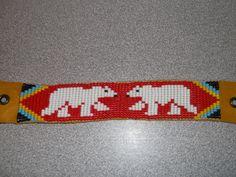 polar bears bracelet, native american bracelet by deancouchie on Etsy Beaded Braclets, Bead Loom Bracelets, Beaded Bracelet Patterns, Jewelry Patterns, Bead Loom Designs, Bead Loom Patterns, Beading Patterns, Native American Patterns, Native American Beadwork