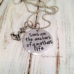 I WANT.  Mother/Son necklace - 'Sons are the anchors of a mothers life' - Hand stamped - Mothers Day, gift for grand mother on Etsy, $30.00