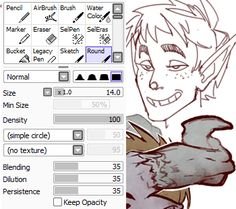 "ursais: "" Decided to post my brush settings in Paint Tool Sai in case anyone was curious. Sometimes I do adjust the B/D/P for different textures/smoothness, but for the most part this is how they are..."
