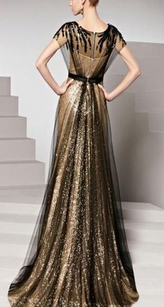Gorgeous and Amazing! Love this Dress! Black and Gold Column Color Block Sweep Train Sleeveless Beading Sequin Evening Gown