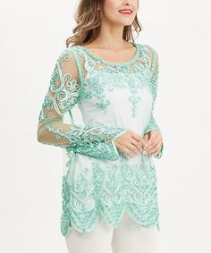 Another great find on #zulily! Green Crochet Scoop Neck Tunic by Simply Couture #zulilyfinds