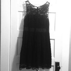 Lacy LBD Black lace vintage-inspired dress. Knee-length. Lined from bust down. Ribbon around waist. Zips up the back. Worn twice. Gorgeous for prom, graduation, or wedding season! ModCloth Dresses Midi