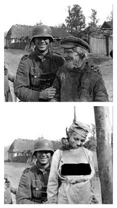 Original photo shows German soldier posing with a farmer. Allied version shows him as a sadistic hangman.