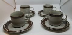 Vintage Arabia Finland Set of 4 Karelia Demitasse Espresso Mug Cups and Saucers