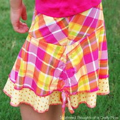 It's Skirt Week over at the Crafterhours blog, and I thought I would use this as an opportunity to get a head start on some back to school outfits for my daughter since she will be heading off tokindergartenin August. First up is this adorable drop-waist Double Layer Circle skirt made from some knit fabrics in my stash. Doesn't it twirl beautifully? I added a ruched tie embellishment on each side for a little something extra. Ididn't do a full tutorial for this project, but I can show…
