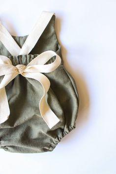Handmade Olive Green Linen & Lace Romper | StandardOfGraceShop on Etsy
