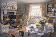 Sunday Tea-Time Giclee Print by Stephen Darbishire | Art.com