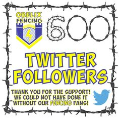 600 Twitter followers! (insert happy fencing dance here!) Whoop! Whoop!  Thank you!   You have no idea how we appreciate every lead, opportunity, information, like, retweet, follow and list that we have been added to. So humbled by your support!  If you are on Twitter then please come past and say hi @ObelixF   #Twitter #FencingFollowers #support Gate Motors, Twitter Followers, Barbed Wire, Social Media Design, Fencing, Opportunity, Ads, Dance, Happy
