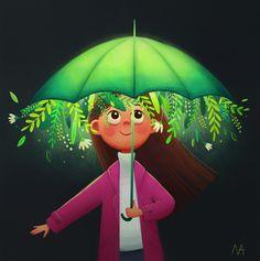 magic umbrella by Anna Markevich Art And Illustration, Graphic Design Illustration, Disney Kunst, Disney Art, Pretty Art, Cute Art, Watercolor Negative Painting, Digital Art Girl, Moon Art