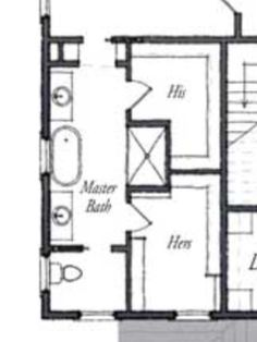 Master Bath Floor Plan With Large Walk In Closets.
