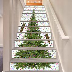 3D Christmas Tree Stair Risers Decoration Photo Mural Vinyl Decal Wallpaper  AU #AJWALLPAPER