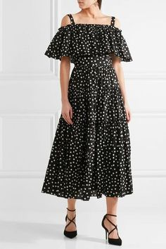 Dolce & Gabbana | Off-the-shoulder polka-dot cotton-blend dress | NET-A-PORTER.COM