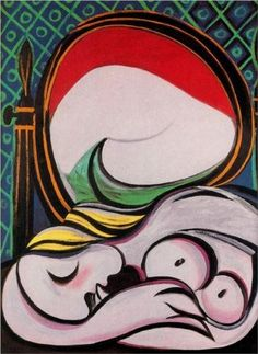 "surrealism-love: ""The mirror via Pablo Picasso Medium: oil on canvas"" Kunst Picasso, Art Picasso, Picasso Paintings, Georges Braque, Henri Matisse, Cubist Movement, Spanish Painters, Art Moderne, Oeuvre D'art"