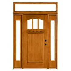 Steves & Sons Craftsman 3 Lite Arch Stained Mahogany Wood Left-Hand Entry Door with Sidelites and Transom 4 in. Wall-M4151-1210-AW-4LH at The Home Depot