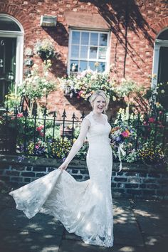 Happy Justin Alexander Lace Dress Bride Chic Colourful Wedding in Liverpool http://www.amyfaithphotography.com/