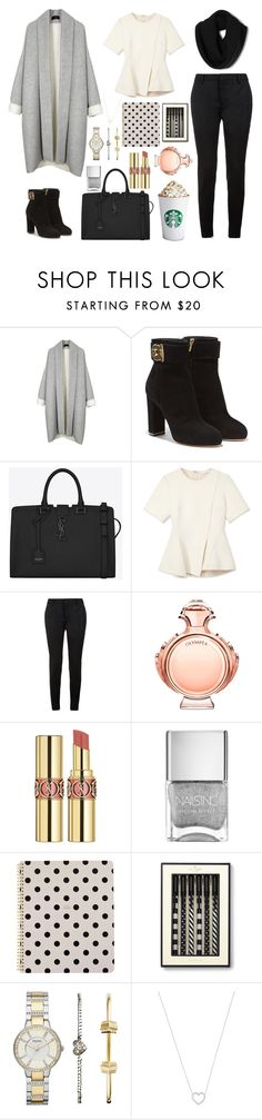 """""""#76"""" by angelinamala ❤ liked on Polyvore featuring Salvatore Ferragamo, Yves Saint Laurent, Alexander Wang, Paco Rabanne, Kate Spade, FOSSIL, Tiffany & Co., women's clothing, women's fashion and women"""