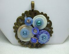 Vintage Beautiful Unique Hand Made MOP Vintage Button Brooch--One of a Kind