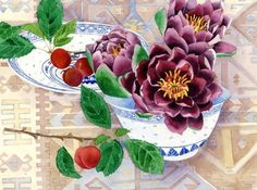 Waterlilies and plums: Gabby Malpas watercolour