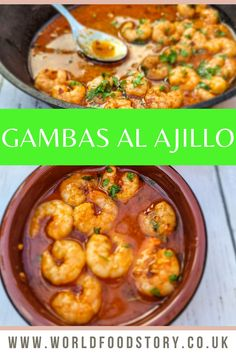 """Pronounced as """"gahm-bahs-ahl-ah- hee-yoh"""" which means """"garlic shrimp,"""" Gambas al Ajillo is a famous Spanish seafood delicacy. It is widely enjoyed across Spain and many restaurants serving Spanish cuisines.Lovers of seafood will fall in love with Gambas al Ajillo, the tasty and juicy Spanish garlic shrimp. It's comprised of thick and juicy shrimps marinated with garlic sauce soaking in savoury olive oil. The result is a bright, rich, and spicy dish that tastes great with crusty bread! Garlic Shrimp, Garlic Sauce, Good Food, Yummy Food, Spicy Dishes, World Recipes, Bon Appetit, Olive Oil, Meal Planning"""