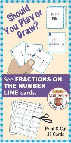 """This set of printable cards will help students learn to use fractions on the number line, called for by CCSS 3.NF.2b. The """"3F"""" in the title stands for Grade 3, fractions domain. During games, students match a fraction to a verbal expression or diagram. ~by Angie Seltzer"""