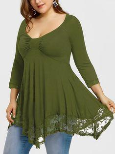 151d7bcda302e Lace Trim Plus Size Empire Waist Handkerchief T-shirt    plusize  plussize