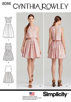 Cynthia Rowley Collection. Dress pattern with lace overlay or popover in single or two fabrics. #8086