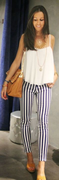 Chic Barcelona Black And White Stripe Skinny Ankle Women's Pants by BCN Fashionista