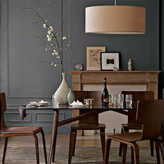 Love my dark walls. Nice to see how other people are handling their dark walls. Makes me wanna go darker.    (West Elm pendant light)