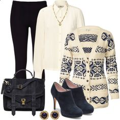 Cardigan And Leggings Outfit, created by mozeemo on Polyvore