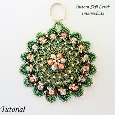 Beading tutorial instructions - beadweaving pattern beaded seed bead jewelry - NOTRE DAME beadwoven pendant