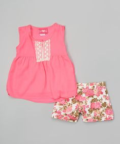 Look at this Neon Pink & White Floral Top & Shorts - Girls on #zulily today!