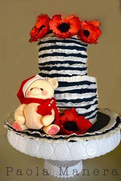 Noel Bear on a Poppies Cake - Cake by Paola Manera- Penny Sue - CakesDecor
