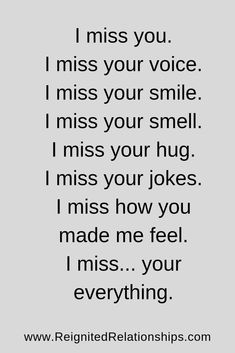 I miss your voice. I miss your smell. I miss your hug. I miss your jokes. I miss how you made me feel. Missing your ex quote I Miss You Quotes, Missing You Quotes, Cute Love Quotes, Love Quotes For Him, Sad Quotes, Life Quotes, Inspirational Quotes, L Miss You, Qoutes