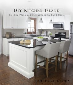 This kitchen island is made from a surprisingly simple frame built around two stock cabinets, and can be sized to fit ANY base cabinets by changing only ONE measurement.