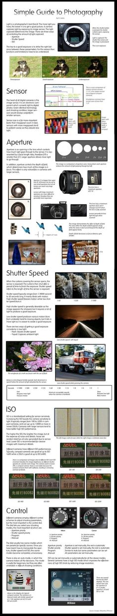 PHOTOGRAPHY :: Simple guide to photograhy: Sensor, Aperture, Shutter Speed, ISO, Control | #improvephotography #phototips by BrandyRupert