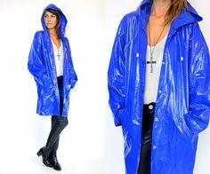 draped cobalt RAINCOAT snap batwing minimal by discoleafvintage, $82.00