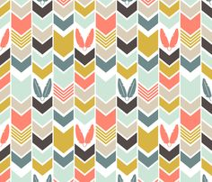 Coral Cowboys Indians Chevron fabric by mrshervi on Spoonflower - custom fabric