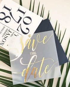 Tara Save the Date with Translucent Vellum Overlay with FOIL #weddinginvitation