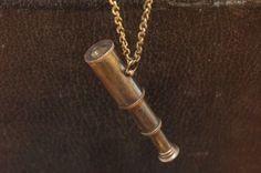 Vintage Brass Miniature Working Telescope Pendant Necklace ...