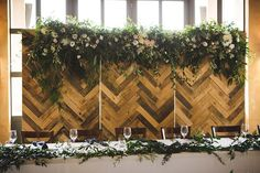 Herringbone Backdrop — Got It Covered Marlborough Sounds, Wedding Events, Wedding Ideas, Weddings, Wedding In The Woods, Herringbone, Wood Projects, Floral Arrangements, Signage
