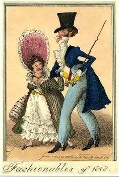 © The Trustees of the British Museum  Fashionables of 1818.  Hand-coloured lithograph, George Cruikshank, 1818