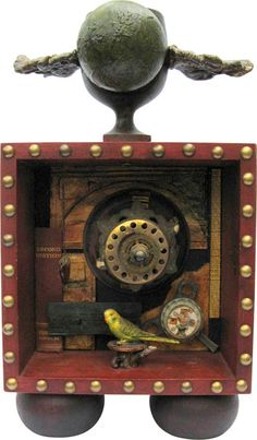 """Number 94, 2012 Susan Spencer (Philo, California, USA) wood, paper, paint, metal, plastic, glass 9"""" x 16"""" x 4"""" (22.9 x 40.6 x 10.2 cm) Curre..."""