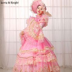 Sissi & Marie Antoinette Dress Inspired Royal Ball Gowns Adult Princess Fancy Dress Quinceanera Dress with Beads PINK