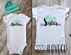 Big Sister Little Brother Outfit  / Beanie Optional / Photo Prop / Big Sister Little Brother