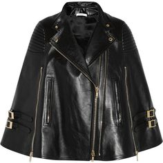 Givenchy Black leather cape with ribbed panels (€5.530) ❤ liked on Polyvore featuring outerwear, cape, jackets, coats, giacche, black, leather cape, cape coat, black leather cape and leather cape coat