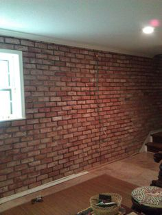 Finished basement after installation of Georgetowne genuine handmade Old Carolina thin brick. Thin Brick, Home Projects, Floors, Basement, Diy And Crafts, Home Improvement, It Is Finished, Room, Rum