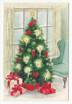 Vintage Greeting Card Gifts Under Christmas Tree Window Wingback Chair Hallmark